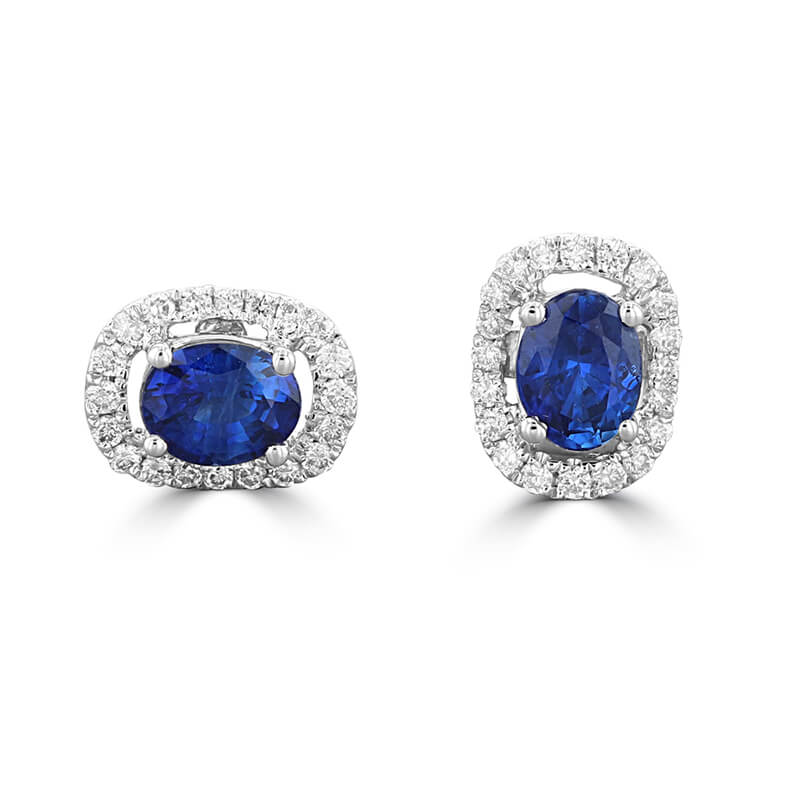 3.5X4.5 OVAL SAPPHIRE HALO EARRINGS
