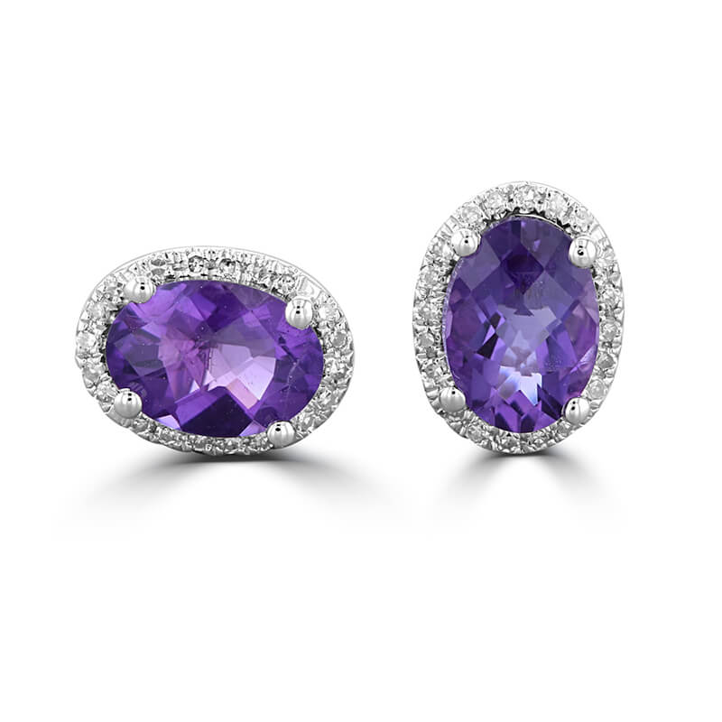 JCX392423: 5X7 OVAL CHECKERED AMETHYST HALO EARRINGS