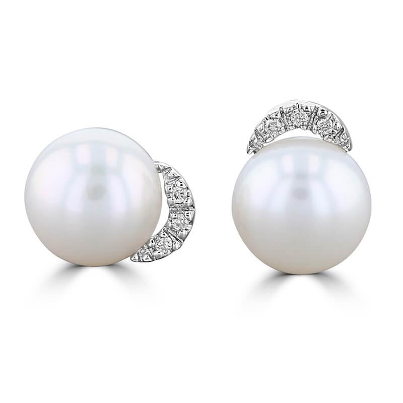 8.5-9MM FRESHWATER PEARL AND DIAMOND EARRINGS