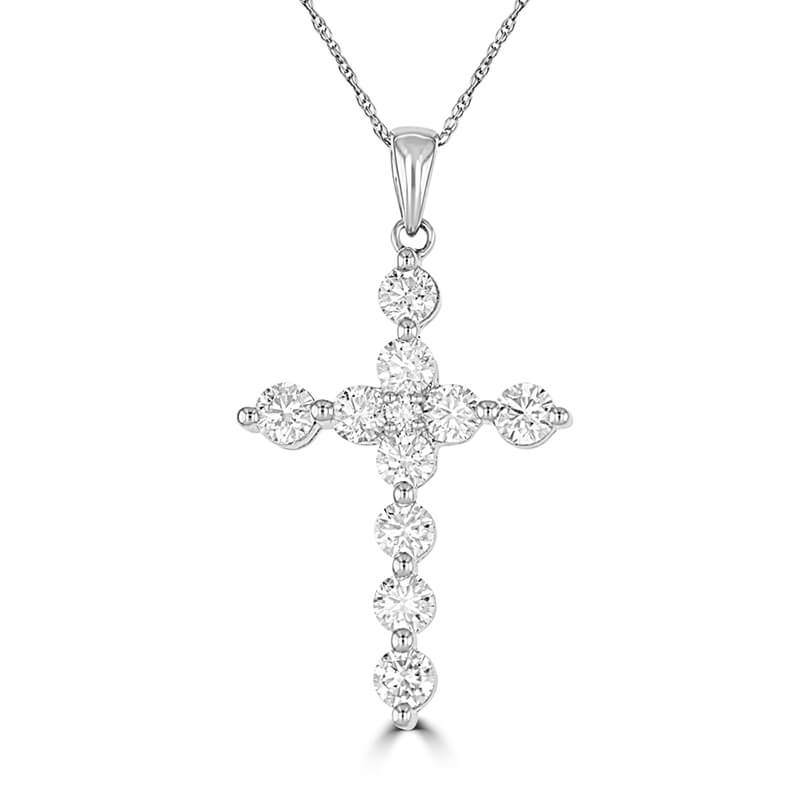 ROUND DIAMOND PRONG CROSS PENDANT (CHAIN NOT INCLUDED)