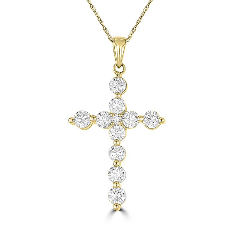 JCX392440: ROUND DIAMOND PRONG CROSS PENDANT (CHAIN NOT INCLUDED)