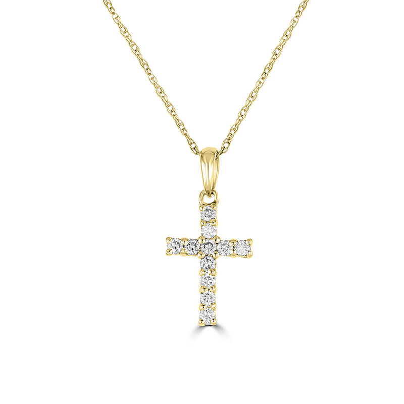 SMALL PRONG DIAMOND CROSS PENDANT (CHAIN NOT INCLUDED)