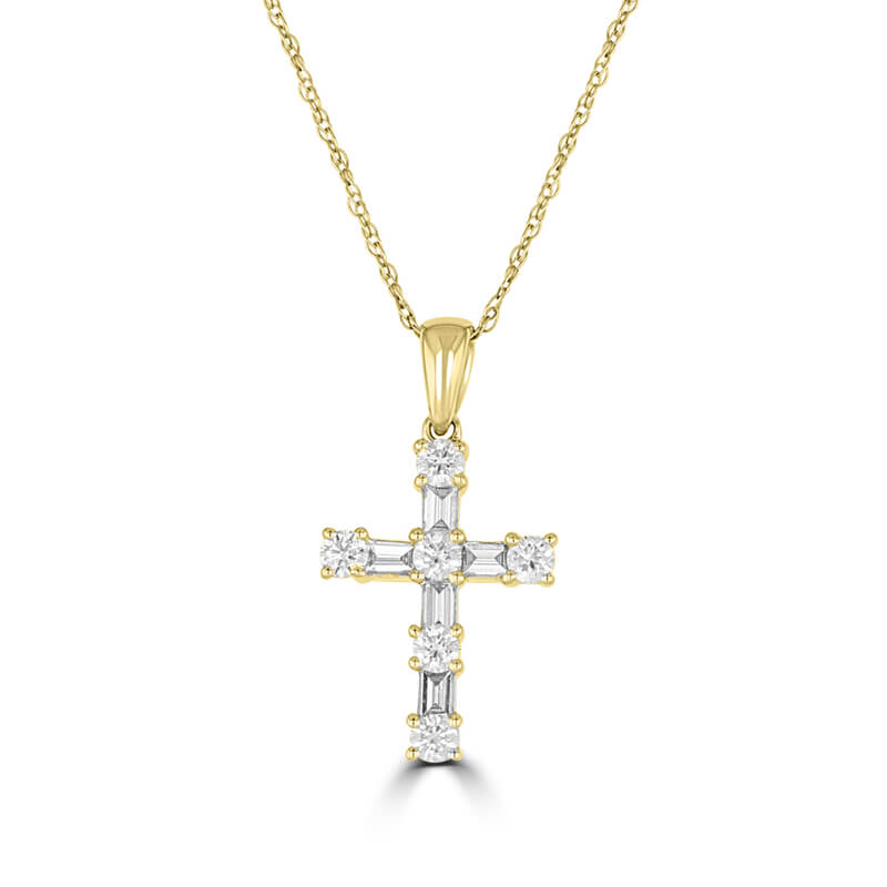 BAGUETTE & ROUND DIAMOND CROSS PENDANT (CHAIN NOT INCLUDED)