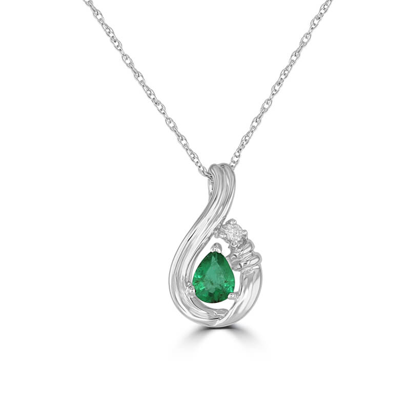 PEAR EMERALD & ROUND DIAMOND PENDANT (CHAIN NOT INCLUDED)