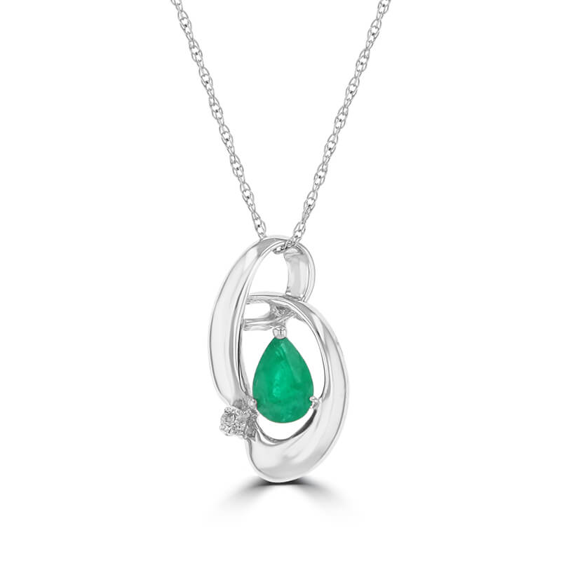 PEAR EMERALD & ONE DIAMOND PENDANT (CHAIN NOT INCLUDED)