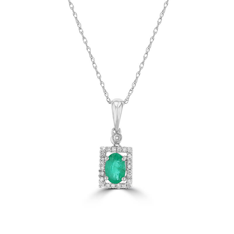 4X6 OVAL EMERALD & ROUND DIAMOND PENDANT (CHAIN NOT INCLUDED)