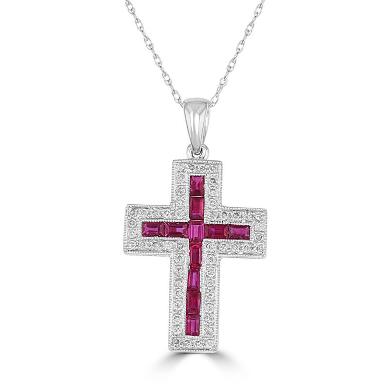 BAGUETTE RUBY SURROUNDED BY ROUND DIAMOND CROSS PENDANT (CHAIN NOT INCLUDED)