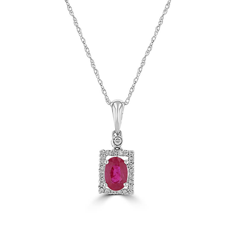 4X6 OVAL RUBY & ROUND DIAMOND PENDANT (CHAIN NOT INCLUDED)