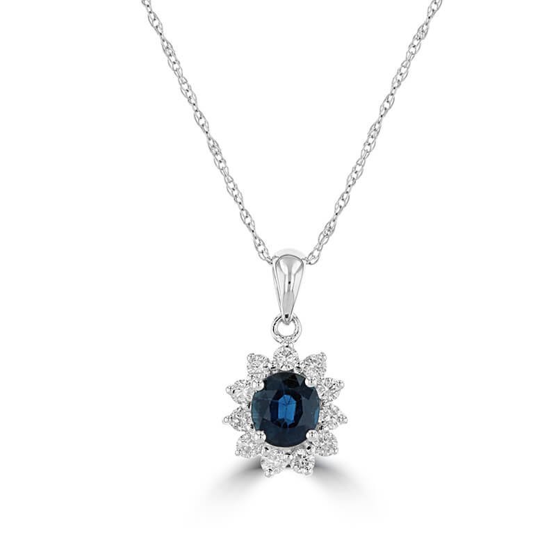 4X5 OVAL SAPPHIRE SURROUNDED BY DIAMOND PENDANT (CHAIN NOT INCLUDED)