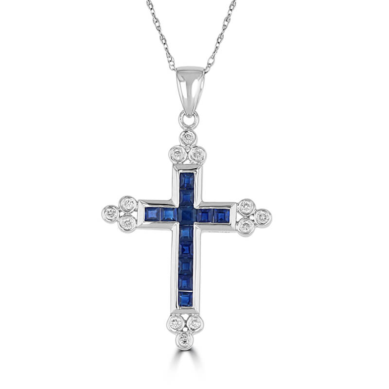 SQUARE SAPPHIRE & ROUND DIAMOND CHANNEL CROSS (CHAIN NOT INCLUDED)