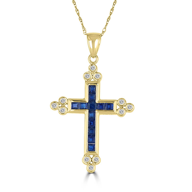 SQUARE SAPPHIRE & ROUND DIAMOND CHANNEL CROSS PENDANT (CHAIN NOT INCLUDED)