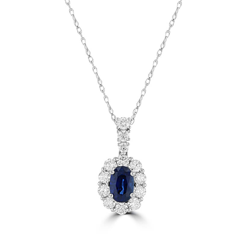 4X6 OVAL SAPPHIRE HALO PENDANT (CHAIN NOT INCLUDED)