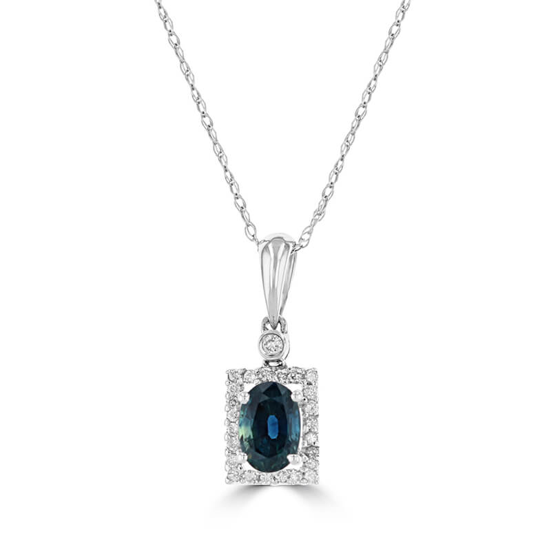 4X6 OVAL SAPPHIRE & ROUND DIAMOND PENDANT (CHAIN NOT INCLUDED)
