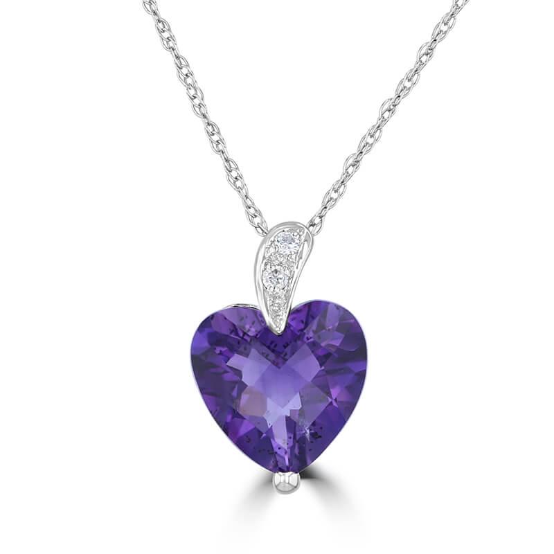 9MM HEART AMETHYST & DIAMOND PENDANT (CHAIN NOT INCLUDED)
