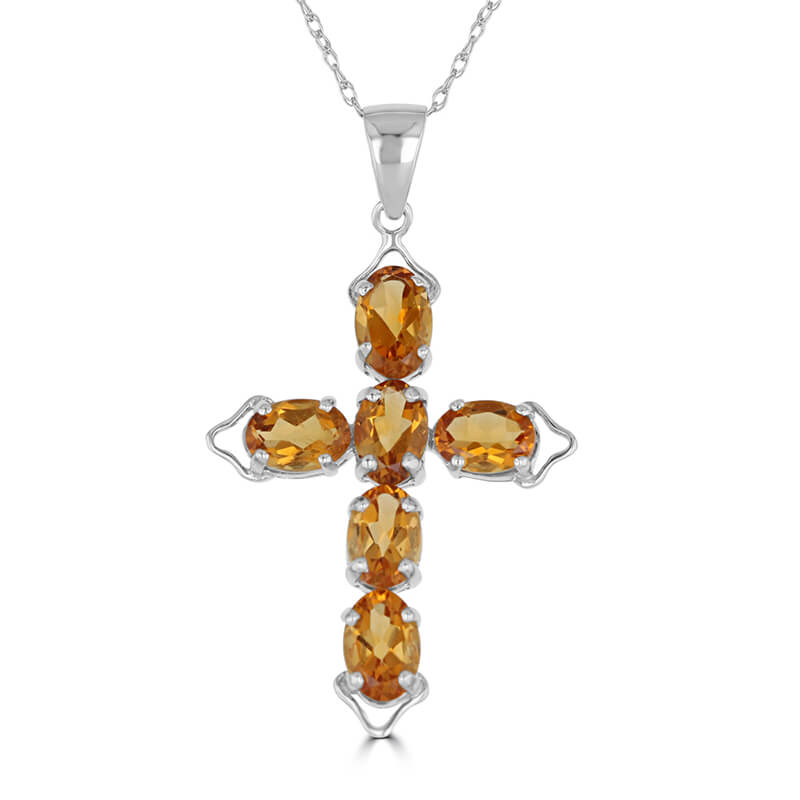 JCX392539: 4X6 OVAL CITRINE CROSS PENDANT (CHAIN NOT INCLUDED)