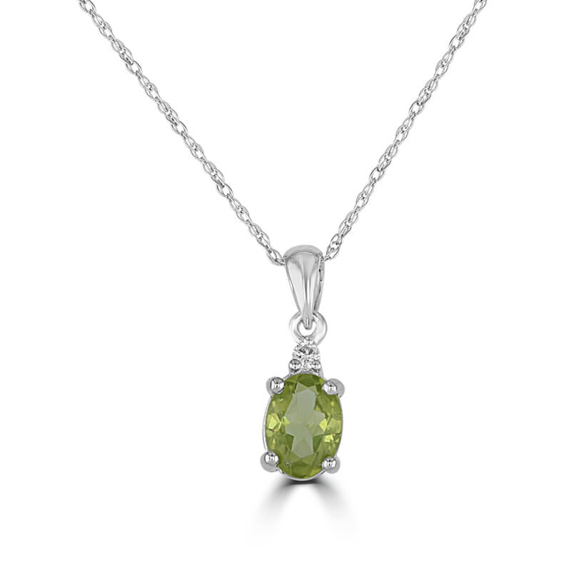 5X7 OVAL PERIDOT AND ONE DIAMOND ON TOP PENDANT (CHAIN NOT INCLUDED)