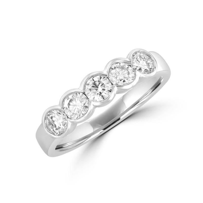 FIVE ROUND DIAMOND HALF BEZEL BAND RING