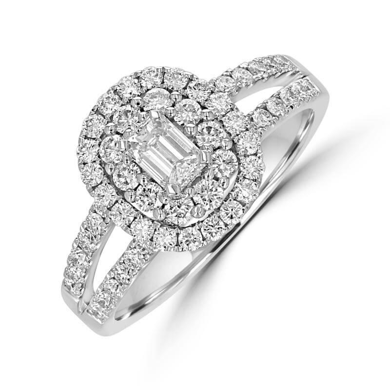EMERALD CUT & ROUND DIAMOND RING