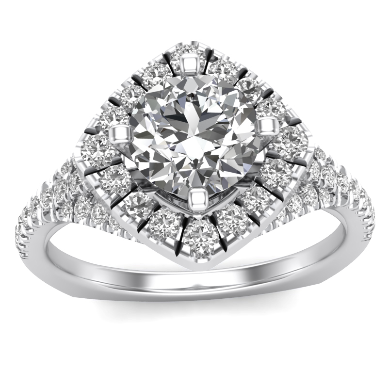 JCX391218: Halo Engagement Ring w/ Adjustable Head - Available in Multiple Sizes