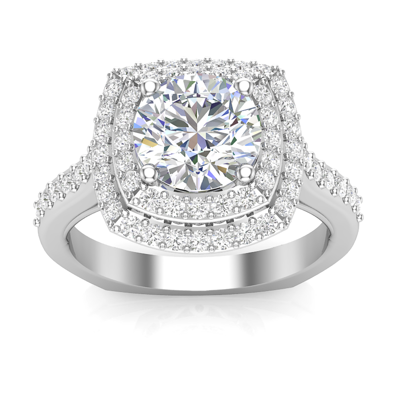 JCX391197: Double Halo Engagement Ring