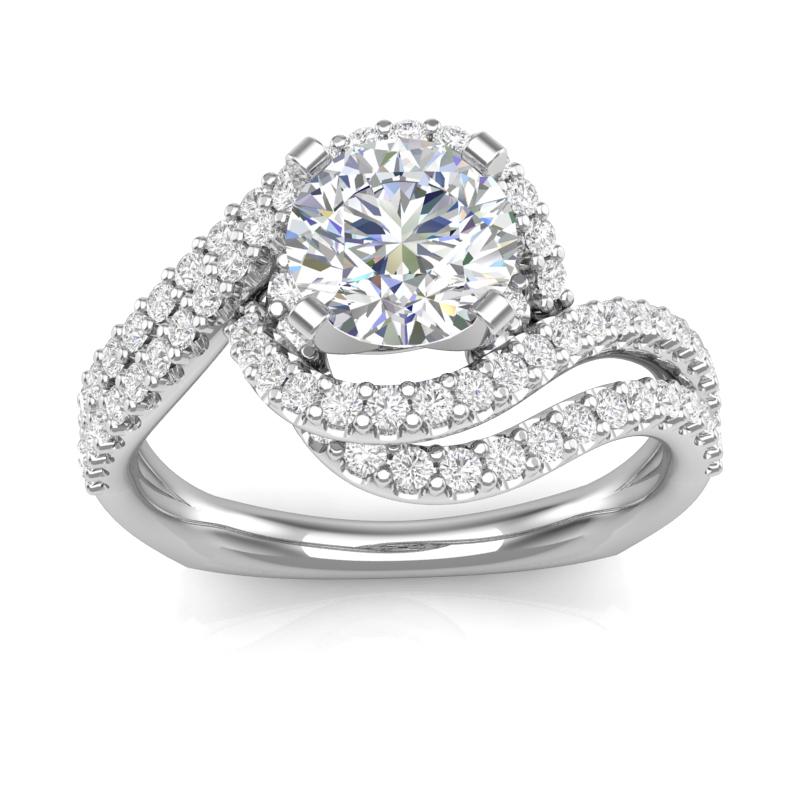 Double Swirl Halo Diamond Engagement Ring