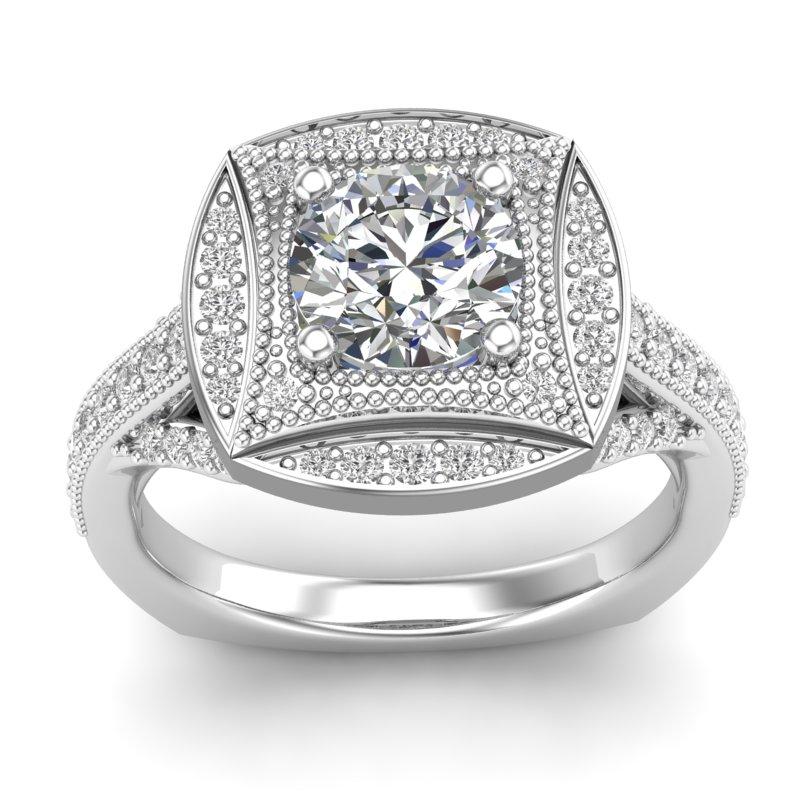 JCX391250: Beaded Halo Engagement Ring