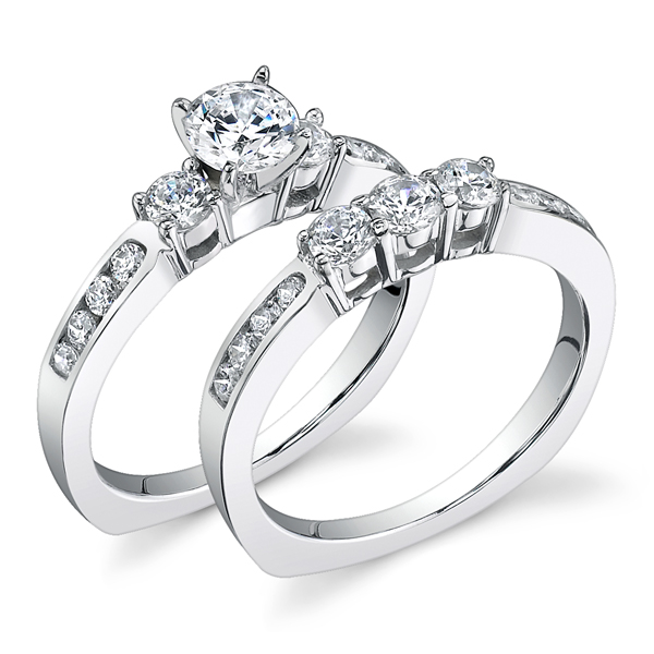 3-Stone Diamond Engagement Set w/ Adjustable Head - Available in Multiple Sizes