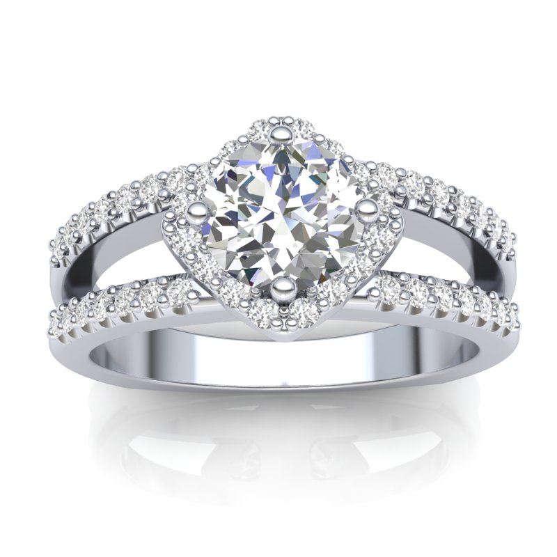 JCX391187: Halo Engagement Ring with Split Shank
