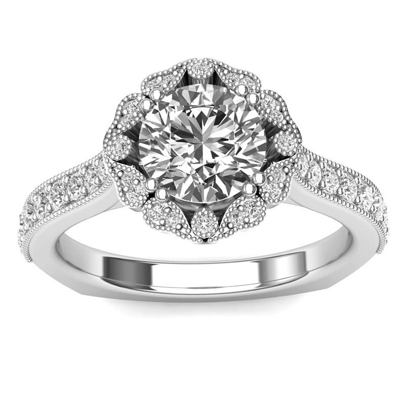 JCX391320: Vintage Halo Engagement Ring