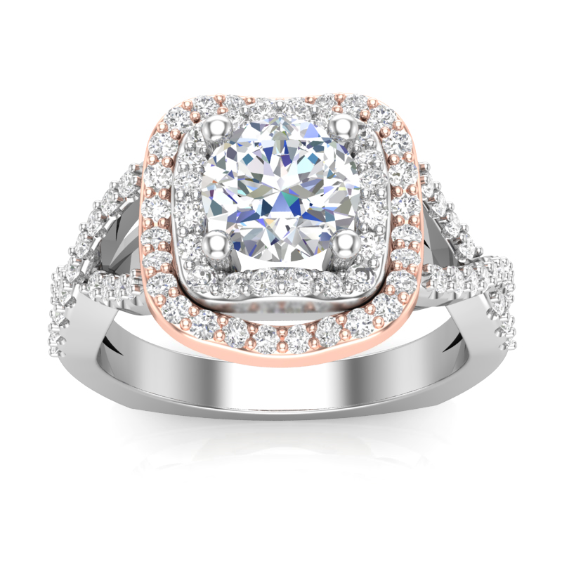 JCX391198: Two Tone Double Wave Halo Engagement Ring