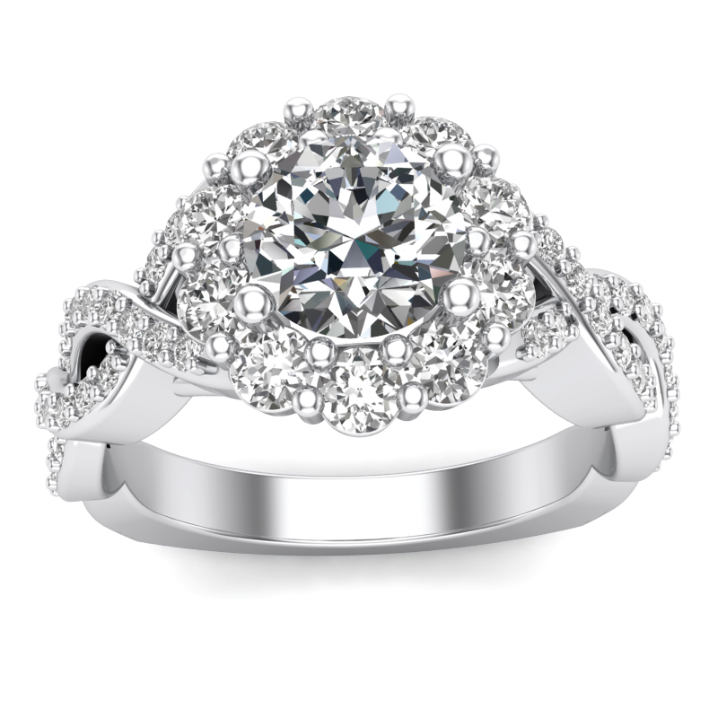 JCX391196: Bold Halo Engagement Ring with Infinity Shank