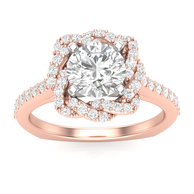 Weave Halo Diamond Engagement Ring w/ Adjustable Head - Available in Multiple Sizes
