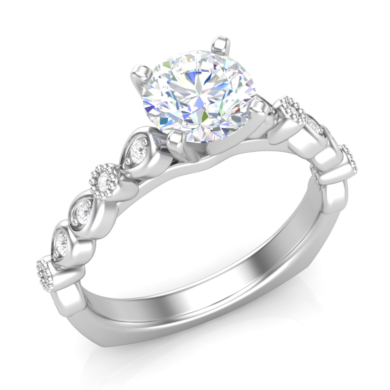 Marquise Shank Stackable Engagement Ring w/ Adjustable Head - Available in Multiple Sizes