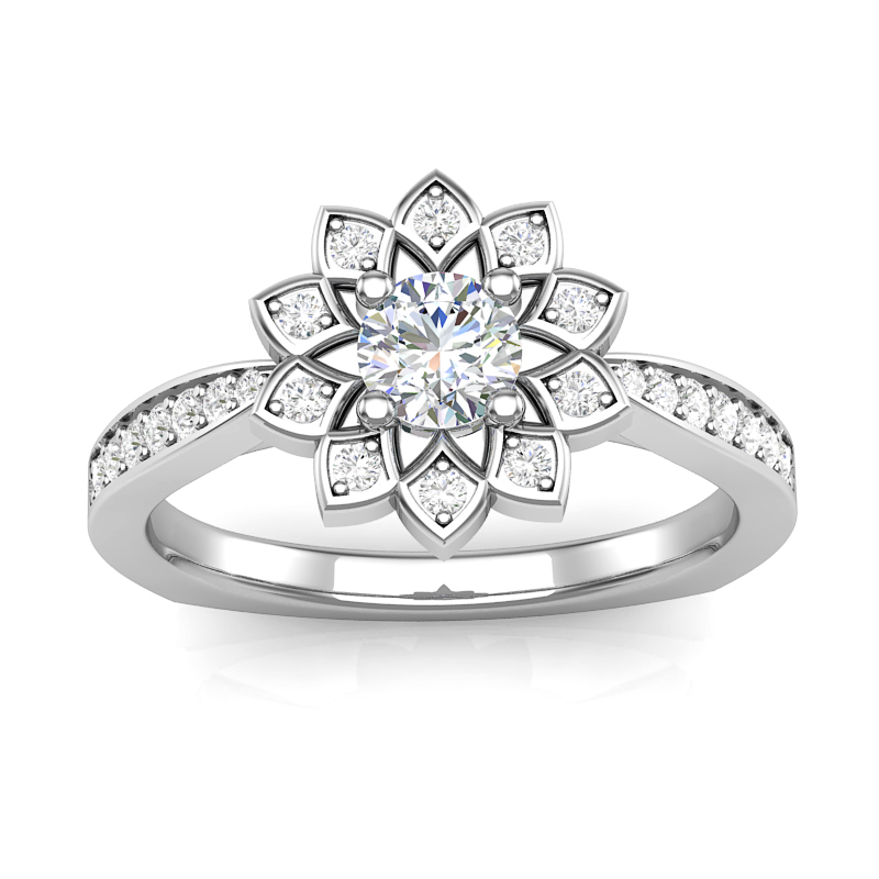 JCX391243: Flower Halo Engagement Ring