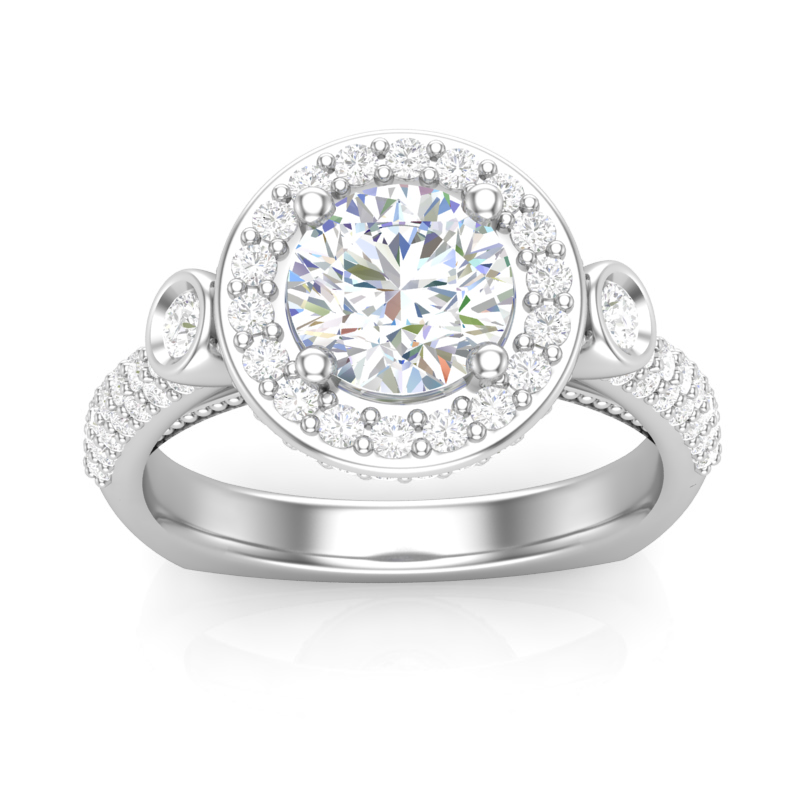 JCX391251: 3 Stone Halo Engagement Ring