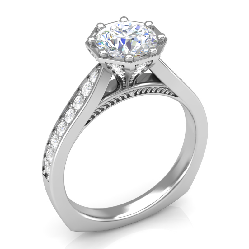 Octagon Top Engagement Ring