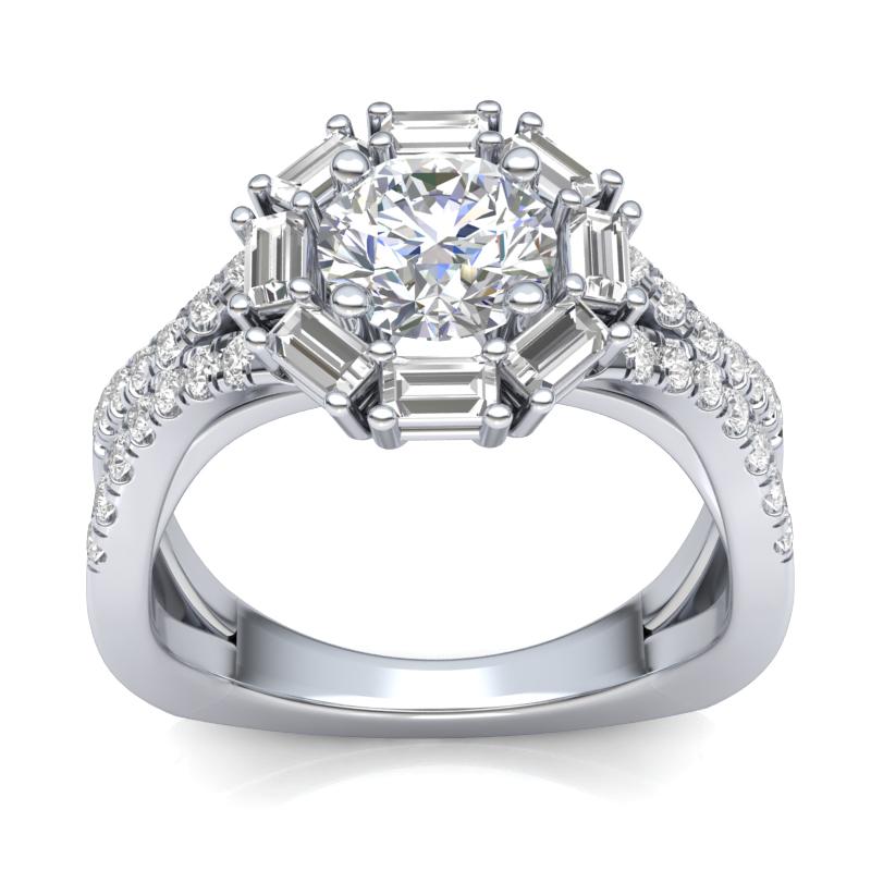 JCX391266: Baguette Halo Engagement Ring