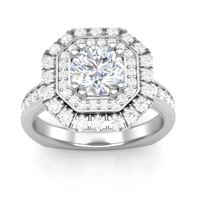 JCX391192: Octogon Shaped Double Halo Engagement Ring