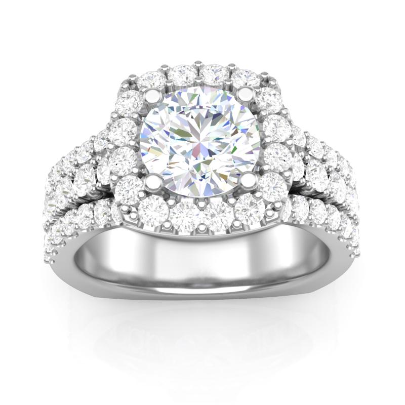 Three Row Halo Engagement Ring