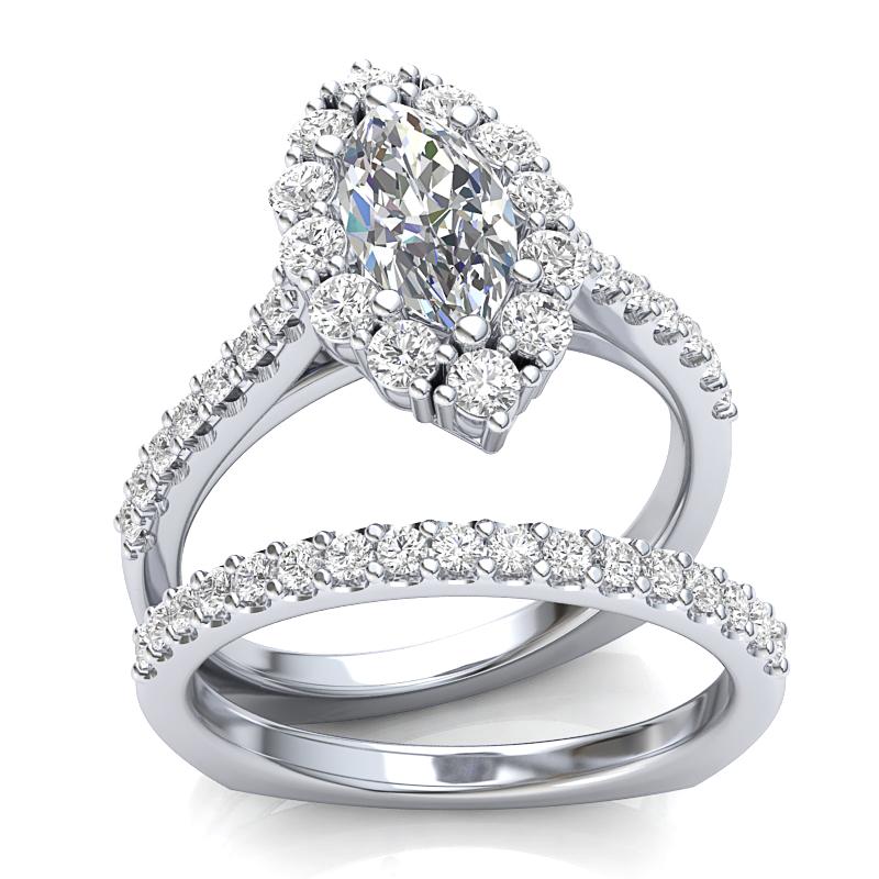 JCX391269: Marquise Halo Engagement Set