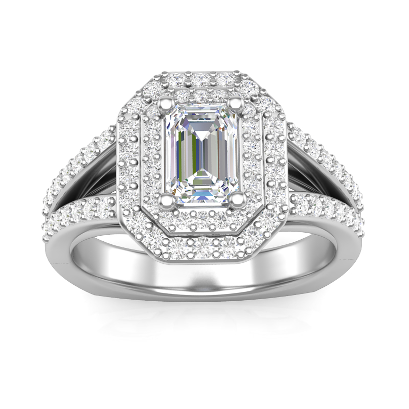 Double Halo Emerald Engagement Ring