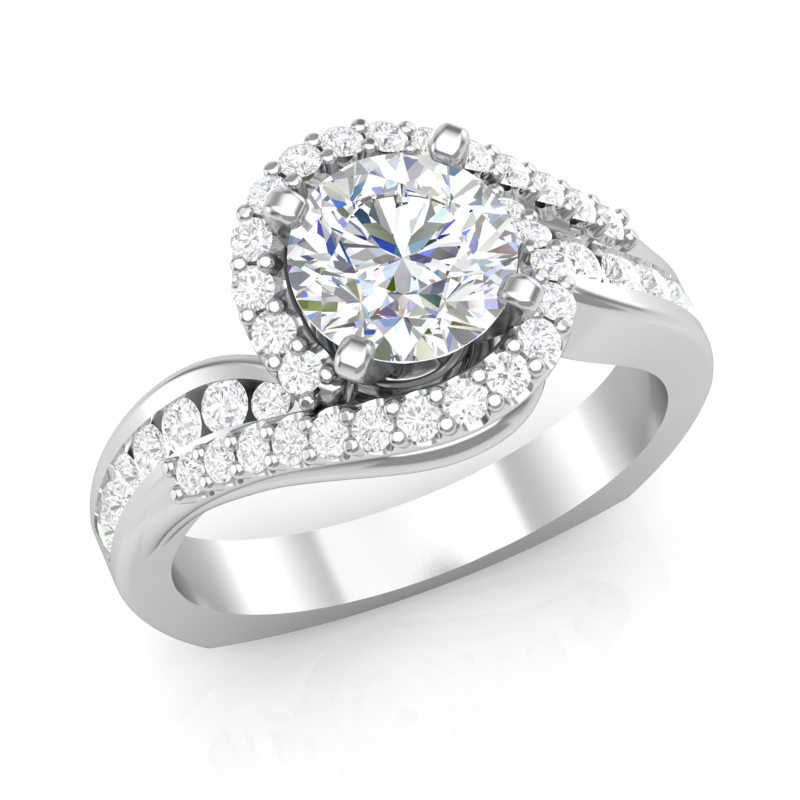 JCX391188: Swirl Halo Diamond Engagement Ring w/ Adjustable Head - Available in Multiple Sizes