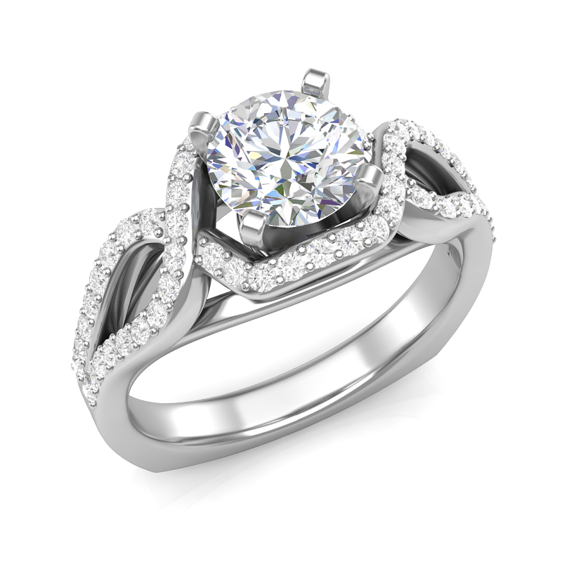 Twisted Engagement Ring w/ Adjustable Head - Available in Multiple Sizes