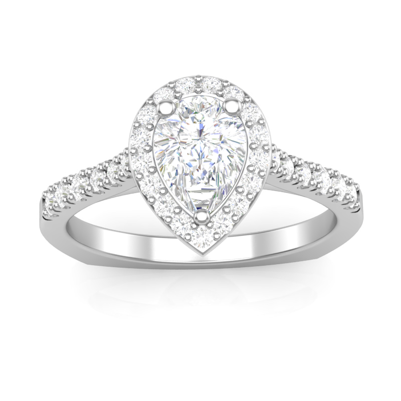 JCX391342: Pear Shape Halo Engagement Ring
