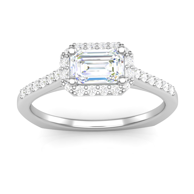 JCX391350: East-West Emerald Cut Halo Engagement Ring