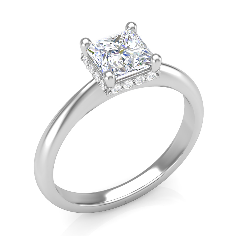 JCX391352: Collar Halo Solitaire Engagement Ring