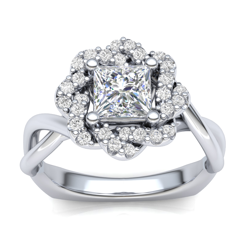JCX391277: Weave Halo Engagement Ring