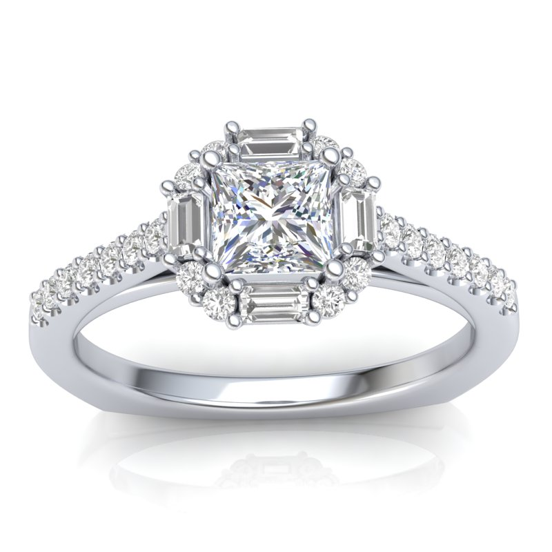 Baguette Halo Engagement Ring