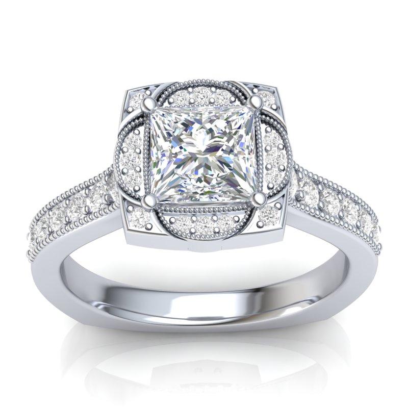 JCX391328: Vintage Halo Engagement Ring