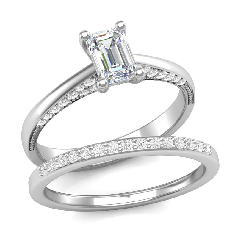 Emerald Cut Diamond Engagement Set
